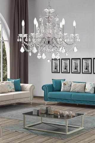 iPhone Wallpaper Living room, sofa, chandelier