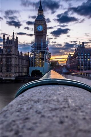 iPhone Wallpaper London, Big Ben, river, bridge, dusk, England