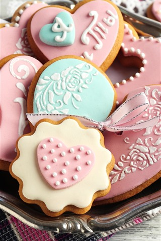 iPhone Wallpaper Love heart cookies, food