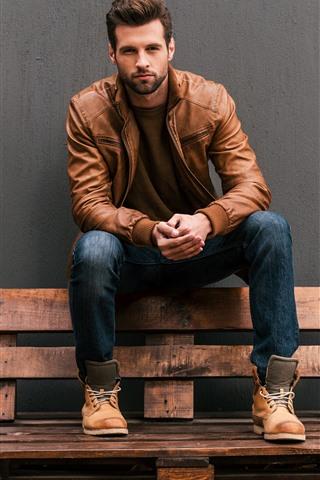 iPhone Wallpaper Man, jacket, bench, wall