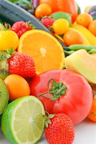 iPhone Wallpaper Many kinds of fruit, oranges, lemon, kiwi, melon, strawberry, corn