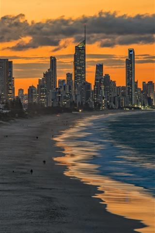 iPhone Wallpaper Miami Beach, sea, skyscrapers, dusk, USA