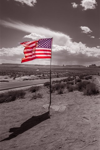 iPhone Wallpaper Monument Valley, flag, USA