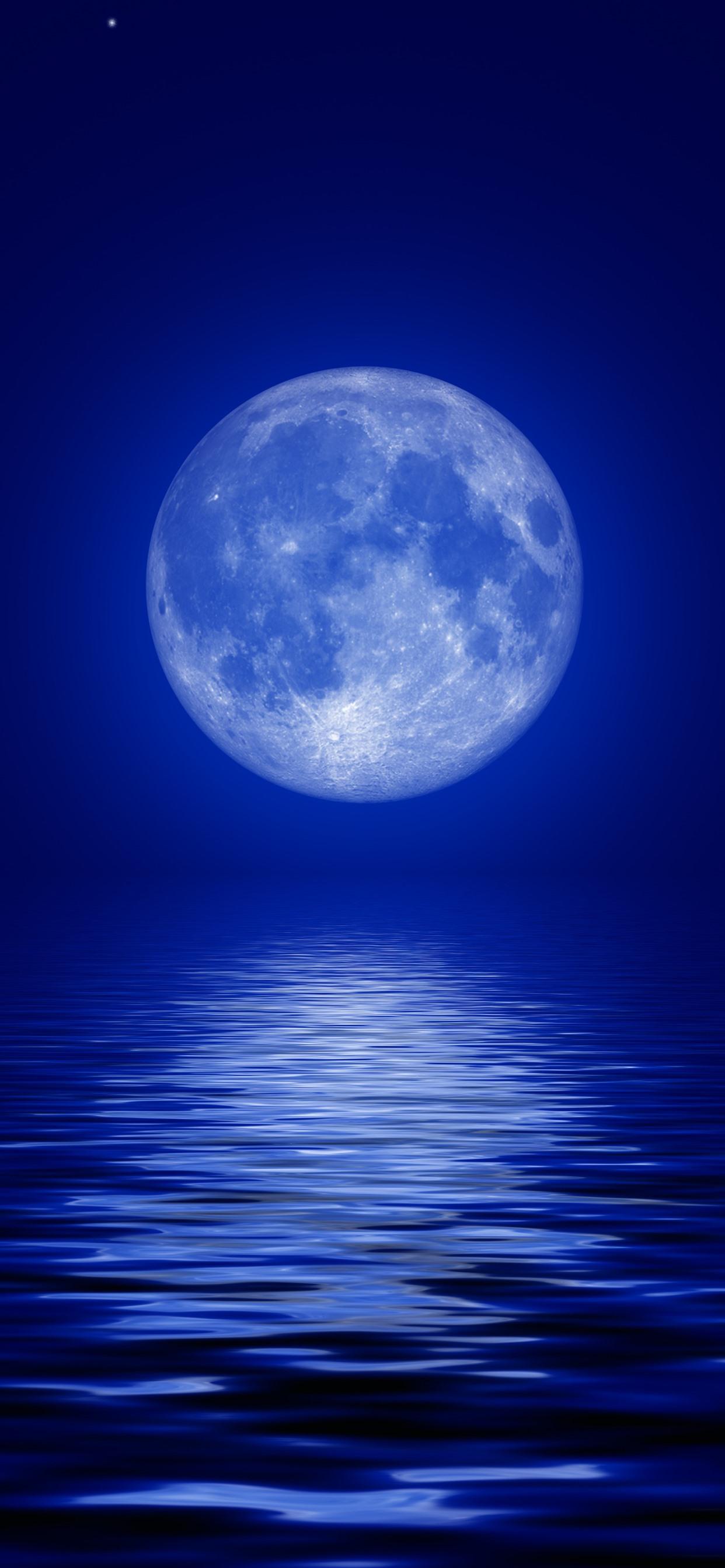 Moon Blue Sea Moonlight Night 1242x2688 Iphone Xs Max