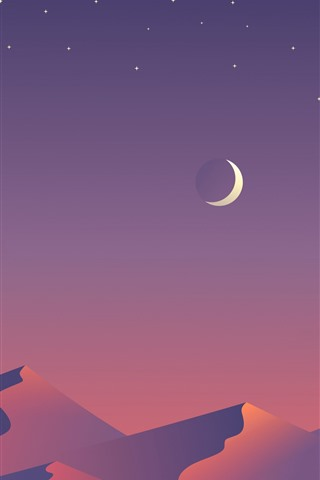 iPhone Wallpaper Mountains, moon, stars, art picture
