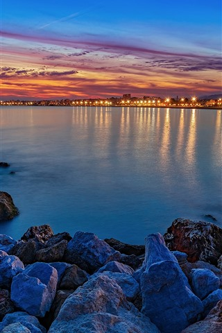 iPhone Wallpaper Night, sea, lights, rocks, city, Spain