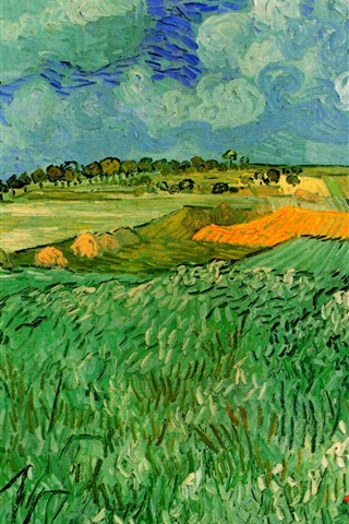 iPhone Wallpaper Oil painting, fields, countryside, Vincent van Gogh
