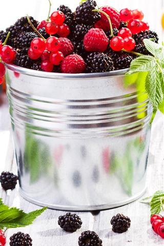 iPhone Wallpaper One bucket of berries, blackberries, raspberries