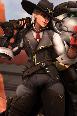 iPhone Wallpaper Overwatch, girl and robot, game art picture