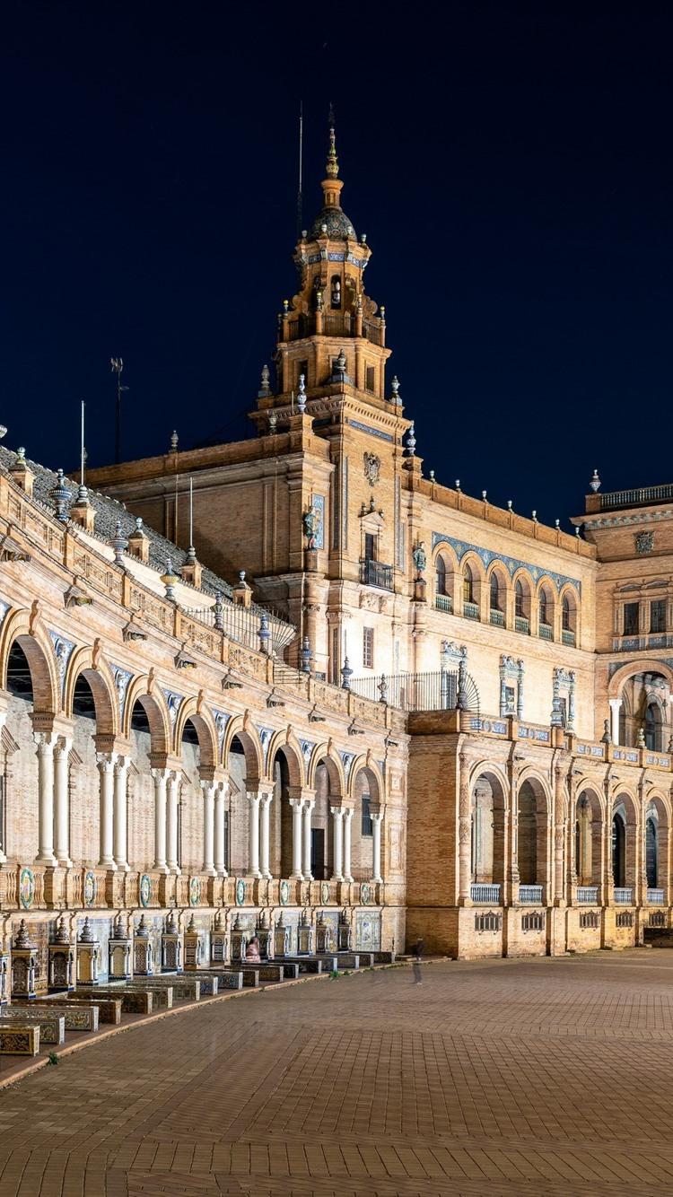 スペイン広場 マドリード 夜 街 750x1334 Iphone 8 7 6 6s 壁紙 背景 画像