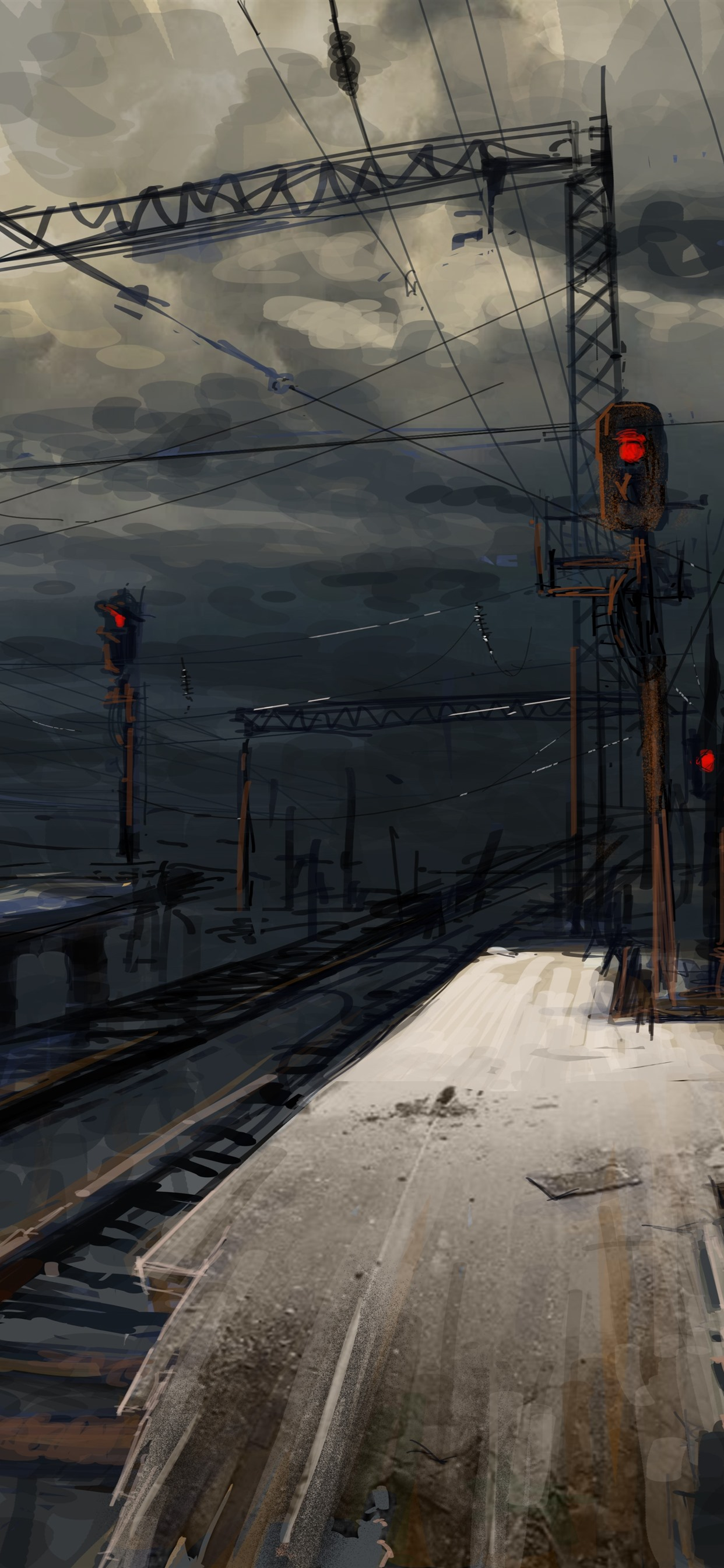 Railroad Station Night Art Picture 1242x2688 Iphone Xs
