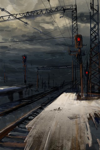 iPhone Wallpaper Railroad, station, night, art picture