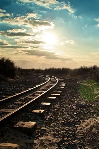 iPhone Wallpaper Railroad, sun, morning
