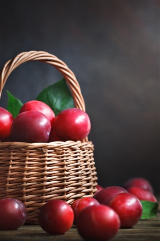iPhone Wallpaper Red plums, delicious fruit, basket