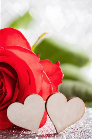 iPhone Wallpaper Red rose, love hearts, hazy, romantic