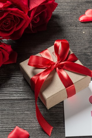 iPhone Wallpaper Red roses, gift, love hearts, romantic