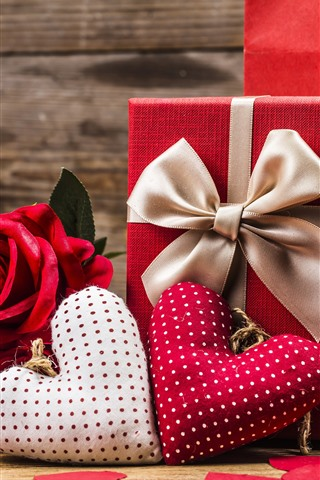 iPhone Wallpaper Red roses, two love hearts, gift, romantic