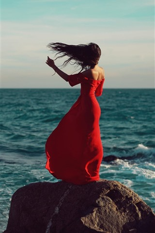 iPhone Wallpaper Red skirt girl back view, sea, wind