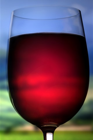 iPhone Wallpaper Red wine, glass cup, hazy background