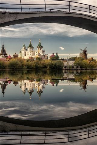 iPhone Wallpaper River, buildings, bridge, water reflection