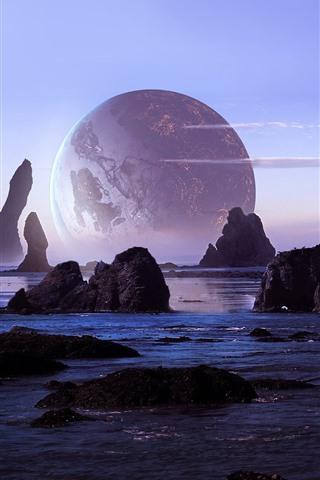 iPhone Wallpaper Rocks, sea, planet