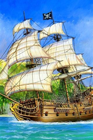 iPhone Wallpaper Sail ship, Pirate, sea, island, art picture