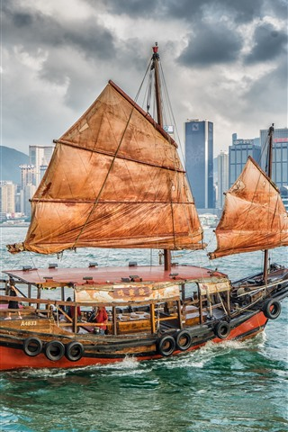 iPhone Wallpaper Sailboat, sea, skyscrapers, Hong Kong