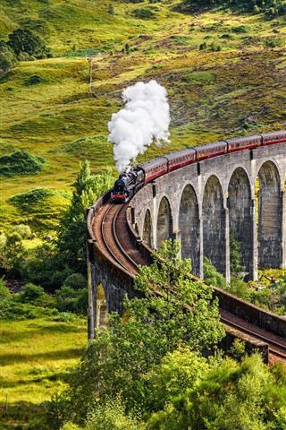 iPhone Wallpaper Scotland, train, smoke, viaduct, trees, countryside