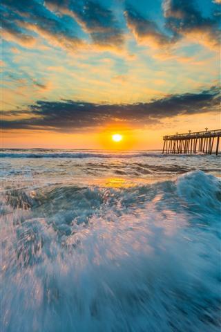 iPhone Wallpaper Sea, coast, waves, foam, pier, sunset, clouds