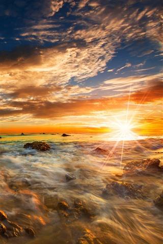 iPhone Wallpaper Sea, rocks, sun rays, sunrise, dawn, sky, clouds