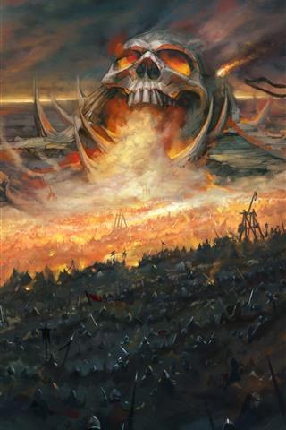 iPhone Wallpaper Skull, war, warrior, art picture