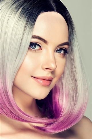 iPhone Wallpaper Smile fashion girl, hairstyle, colors