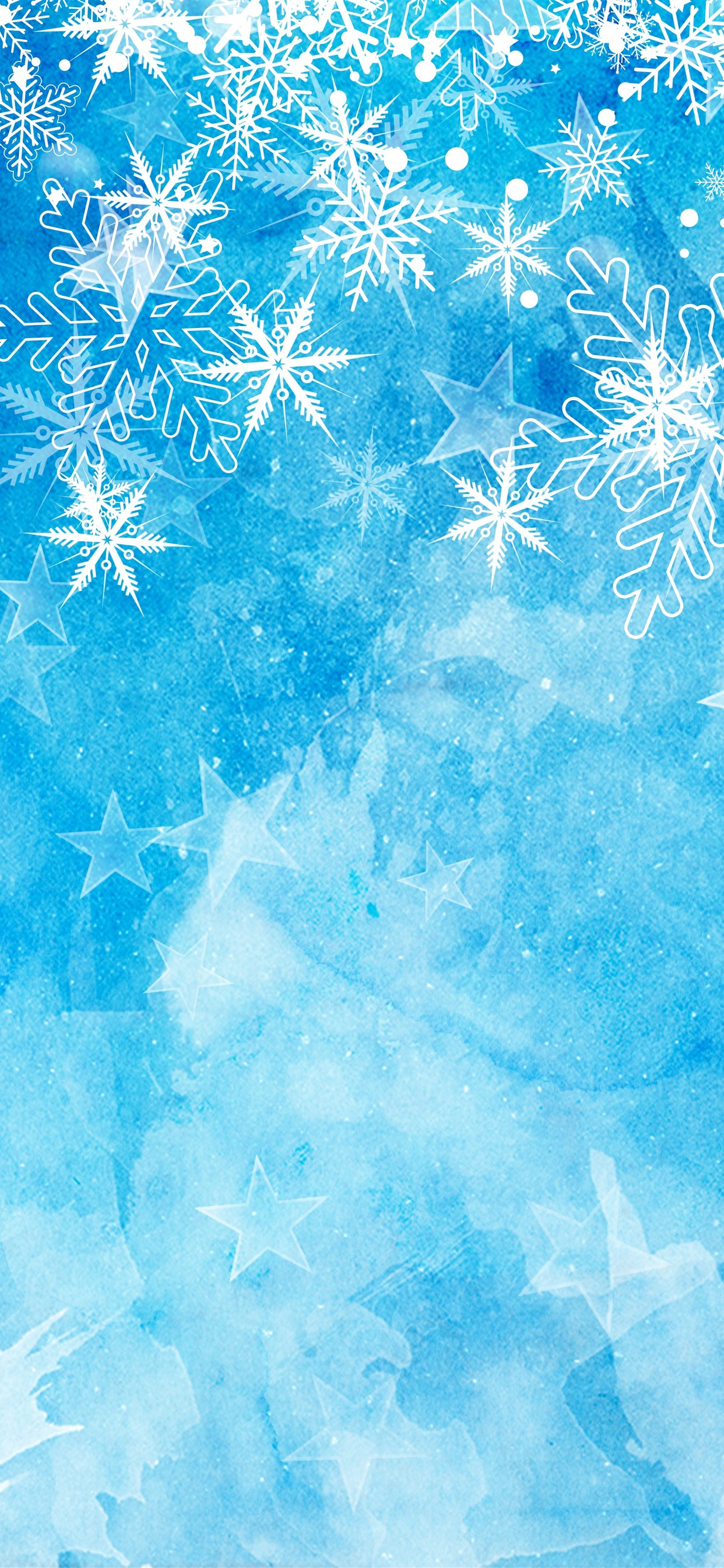 Snowflakes Blue Background Christmas Theme 1242x2688