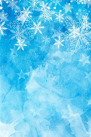 iPhone Wallpaper Snowflakes, blue background, Christmas theme