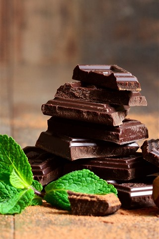 iPhone Wallpaper Some slice of chocolate candy, mint leaves, cinnamon