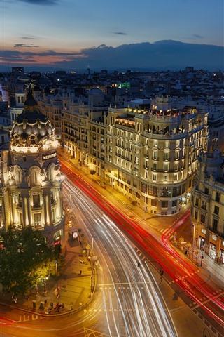 iPhone Wallpaper Spain, Madrid, city, night, lights, street