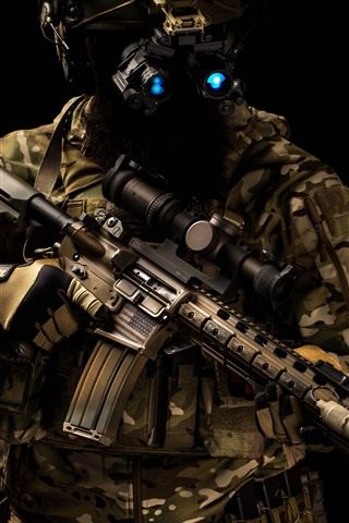 iPhone Wallpaper Special forces, helmet, assault rifle