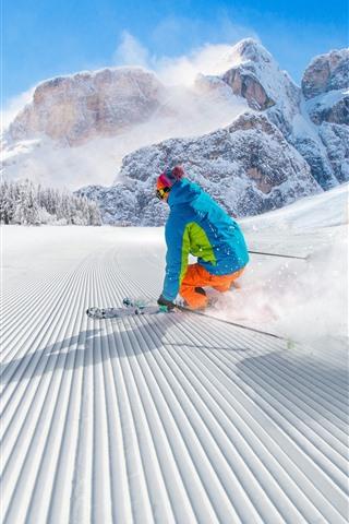 iPhone Wallpaper Sport, ski, snow, mountains, winter