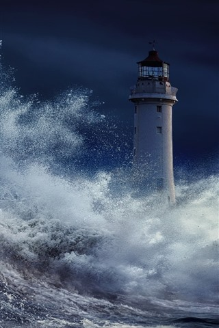 iPhone Wallpaper Storm, sea, water splash, lighthouse