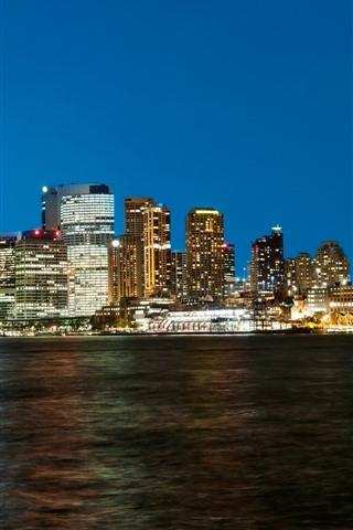 iPhone Wallpaper Sydney, bridge, sea, night, lights, city, Australia