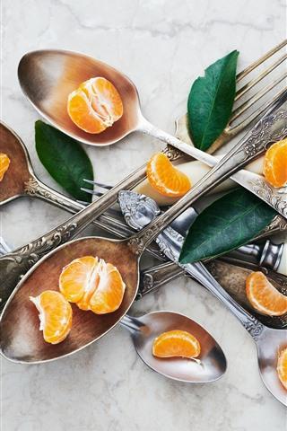 iPhone Wallpaper Tangerines, spoon, fork, leaves
