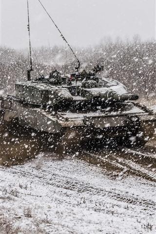 iPhone Wallpaper Tank, army, snowy, winter