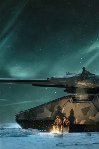 iPhone Wallpaper Tank, soldier, snowy, north light, night