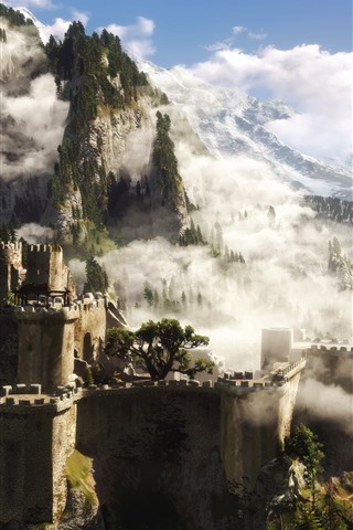 iPhone Wallpaper The Witcher 3, castle, trees, forest, mountains, fog