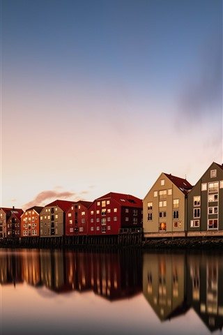 iPhone Wallpaper Trondheim, Norway, houses, river, dusk