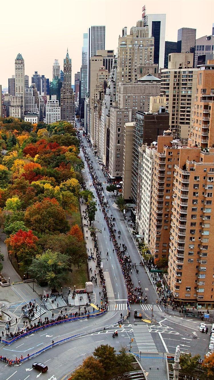 Usa New York City Skyscrapers Park Trees Autumn 750x1334