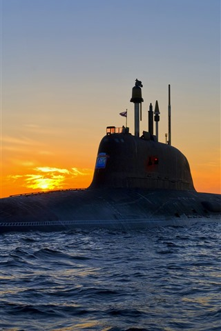 iPhone Wallpaper Weapon, submarine, sea, waves, sunset