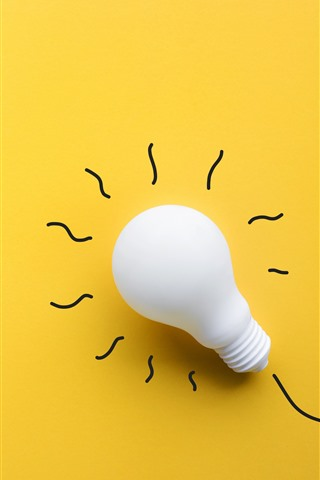 iPhone Wallpaper White bulb, yellow background