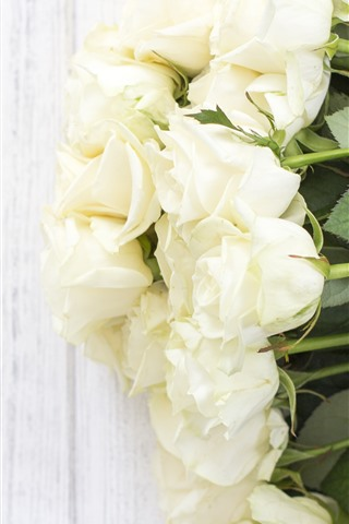 iPhone Wallpaper White roses, flowers, wood background