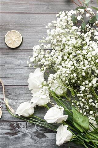 iPhone Wallpaper White roses, little flowers